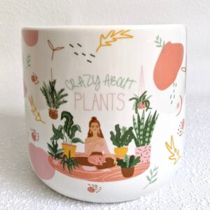Crazy About Plants Quote White Ceramic Pot Planter