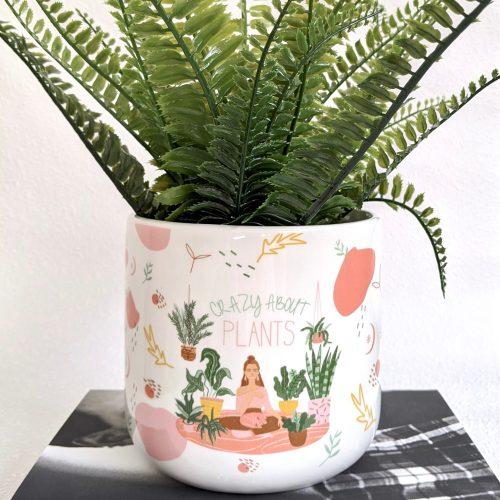 Crazy About Plants Quote White Ceramic Pot Planter
