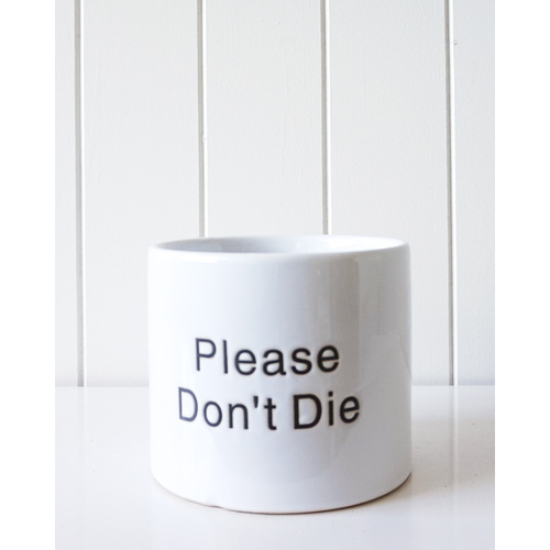 Don't Die Engraved Quote White Ceramic Pot Planter