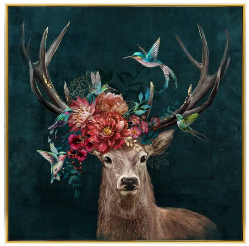 Floral Birds Deer Framed Canvas Wall Art