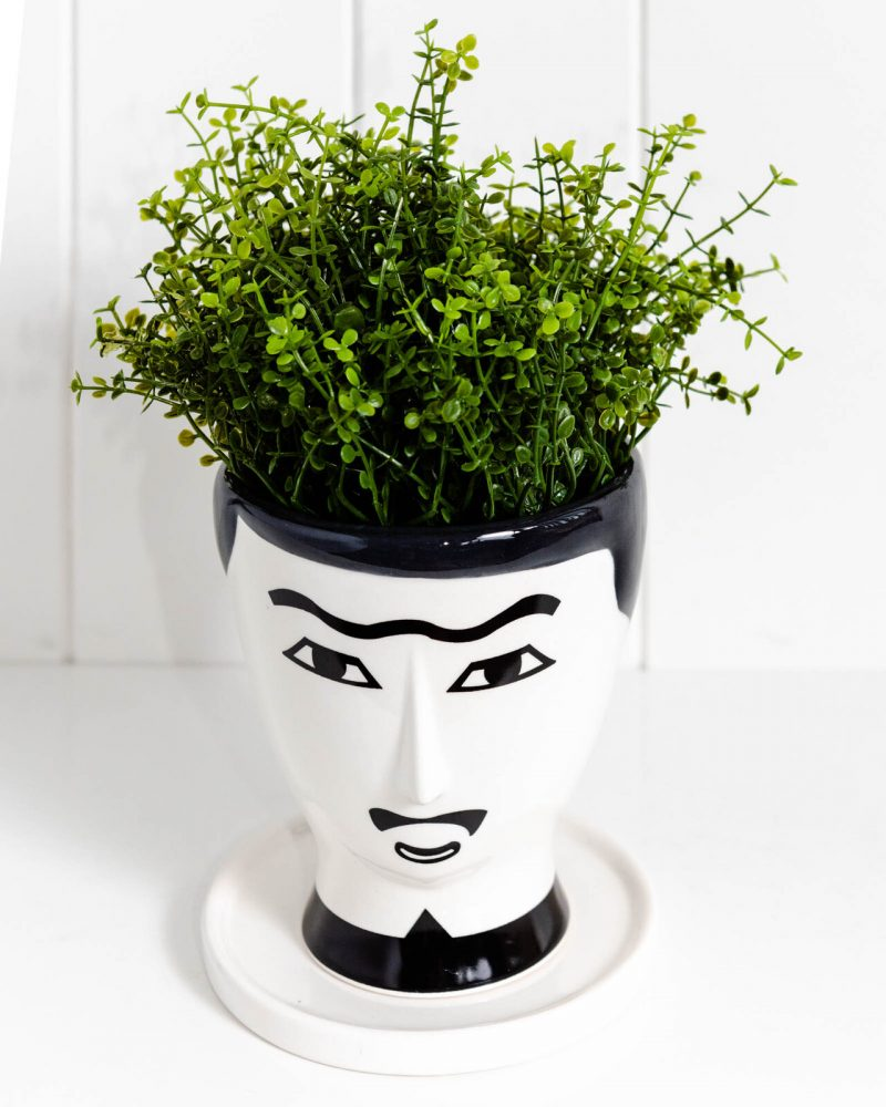 French Man White Ceramic Planter With Saucer