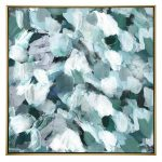 Green Abstract Strokes Framed Canvas Wall Art