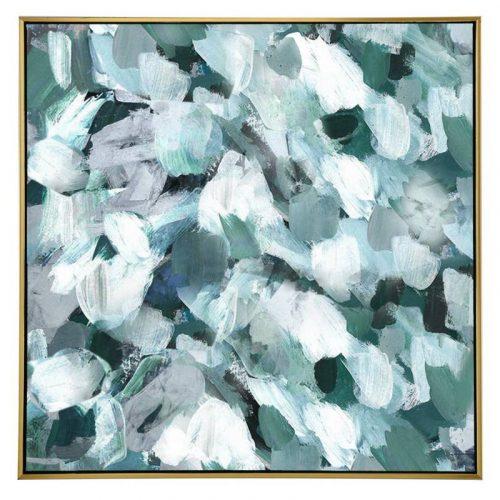Green Abstract Strokes Framed Canvas Wall Art