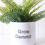 Grow Dammit Engraved White Ceramic Pot Planter