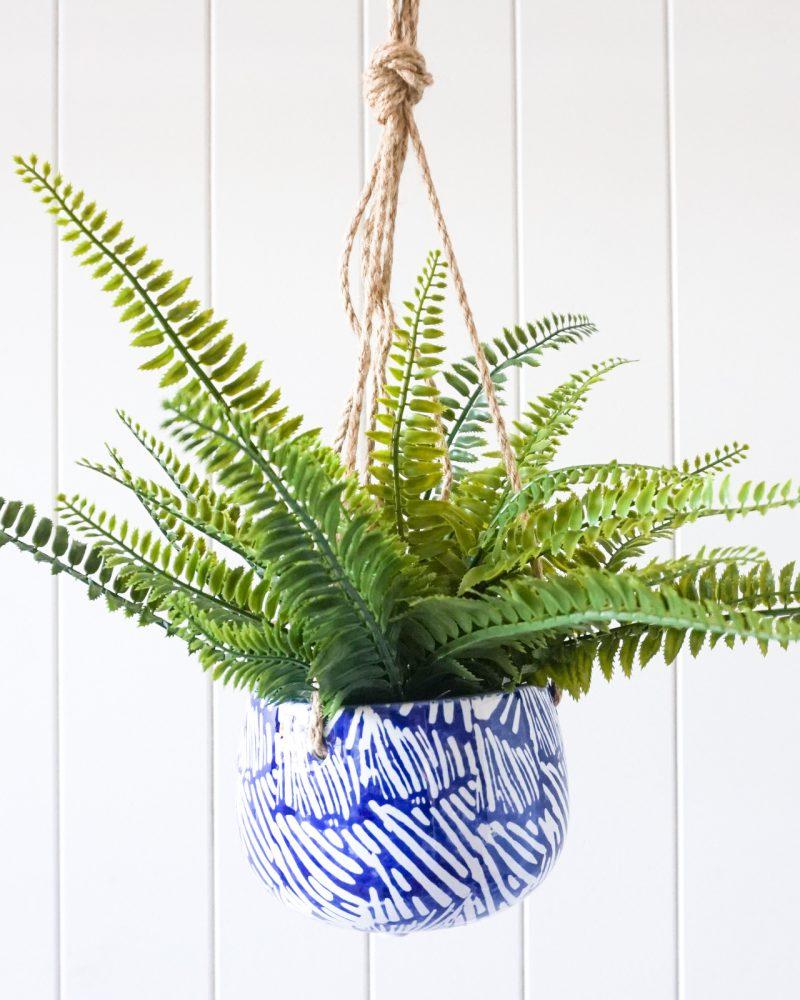Hamptons Blue Abstract Ceramic Hanging Pot Planter