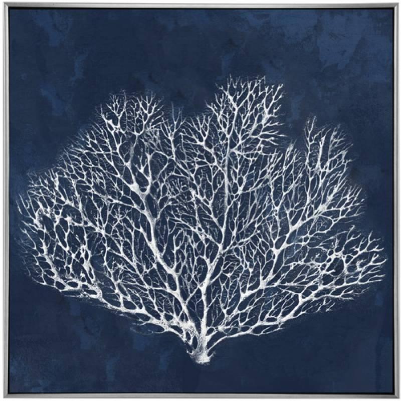 Hamptons Blue Beach Coral Framed Canvas Print Wall Art