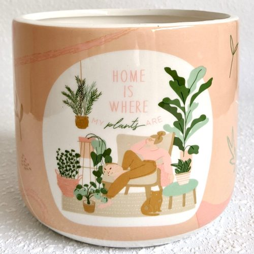 Home Is Where Plants Are Quote Ceramic Planter