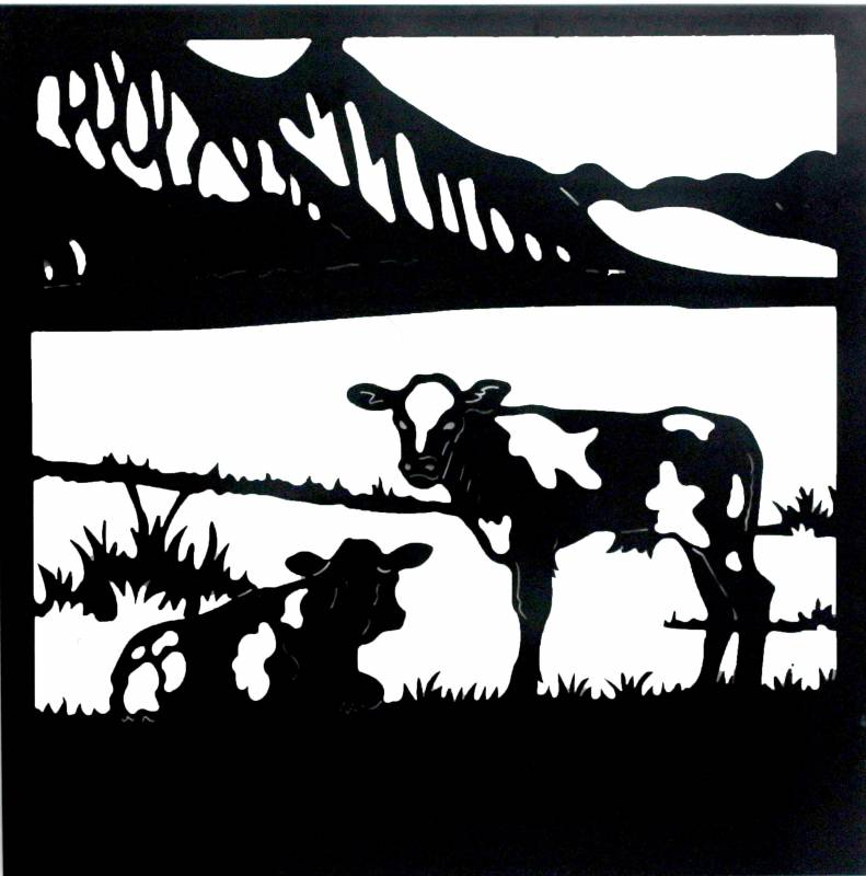 Large Cow Duo Black Metal Wall Art Decor