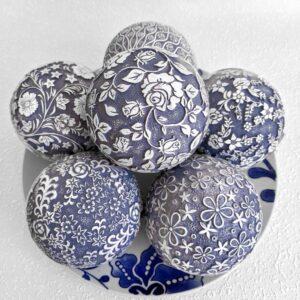 Large Hamptons Blue Decorative Balls - Set of 6