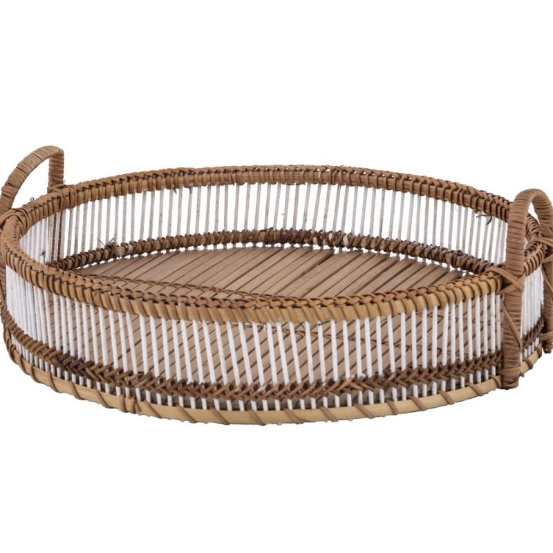 Large Hamptons Round Natural White Bamboo Tray
