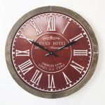 Large Industrial Wine Red Metal Wall Clock