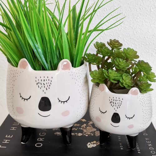 Mommy Baby Pandal Ceramic Planter on Legs