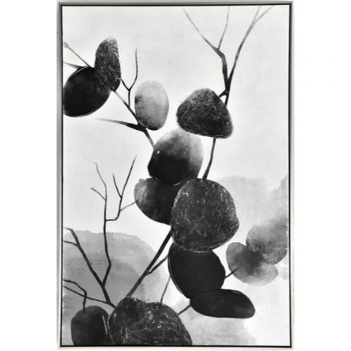 Monochrome Eucalyptus Framed Canvas Wall Art