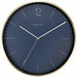 Nextime Vintage Blue Silent Wall Clock With Golden Frame