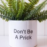 Prick Engraved Quote White Ceramic Pot Planter