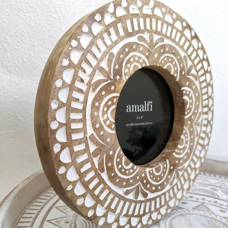 Round Floral Mango Wood Photo Picture Frame