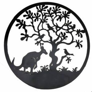 Round Kangaroo Bird under Tree Black Metal Wall Art