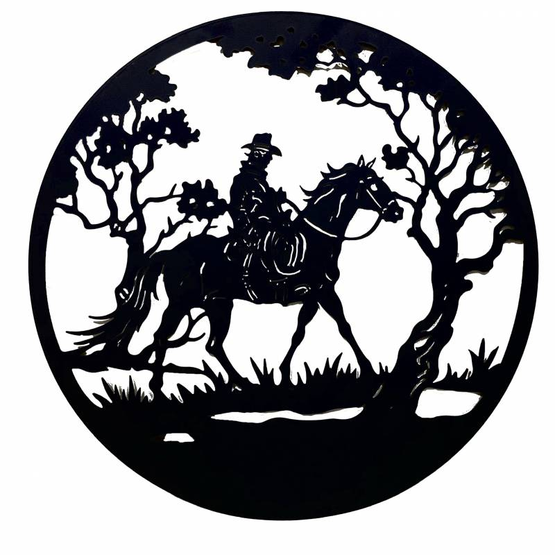 Round Man On Horse Black Metal Wall Art Decor