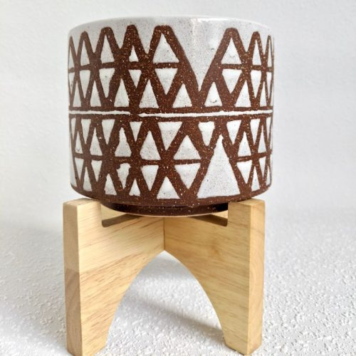 Terracotta White Tribal Ceramic Pot Planter On Stand