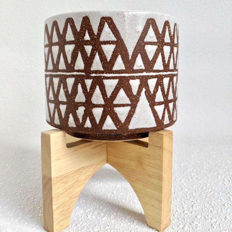 Terracotta White Tribal Ceramic Pot Planter On Stand