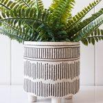 Tribal Glazed Lines Ceramic Pot Planter on Legs