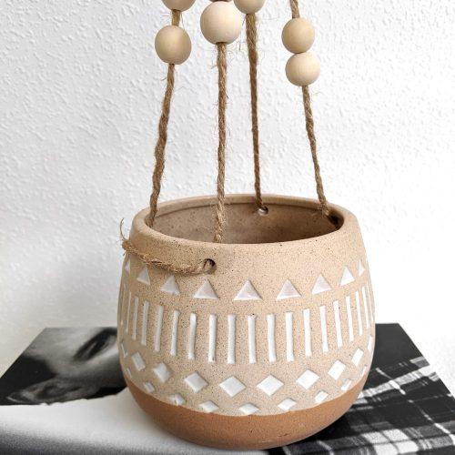 Tribal Terracotta Hanging Ceramic Pot Planter_f