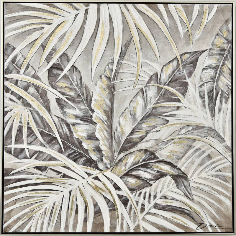 Tropical Leaves Framed Canvas Wall Art
