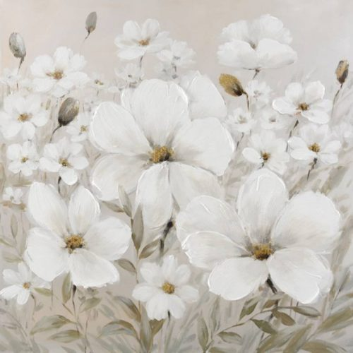 White Flower Framed Canvas Wall Art