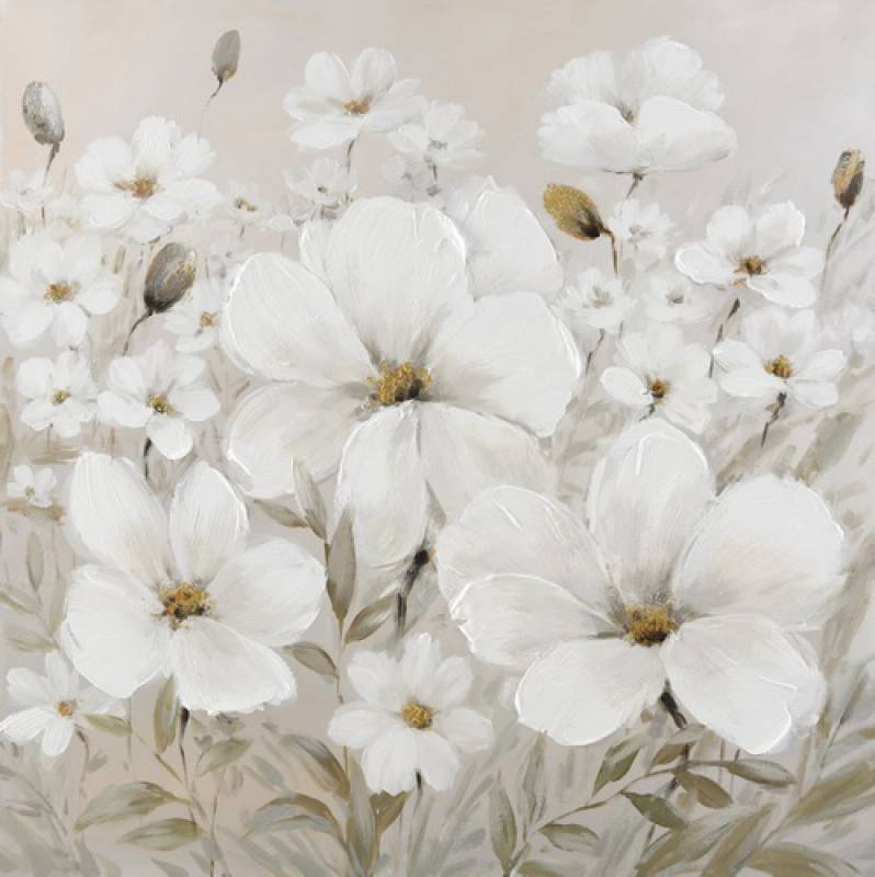White Flower Framed Canvas Wall Art