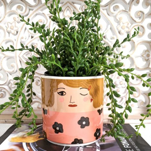 Winking Shy Girl Ceramic Pot Planter