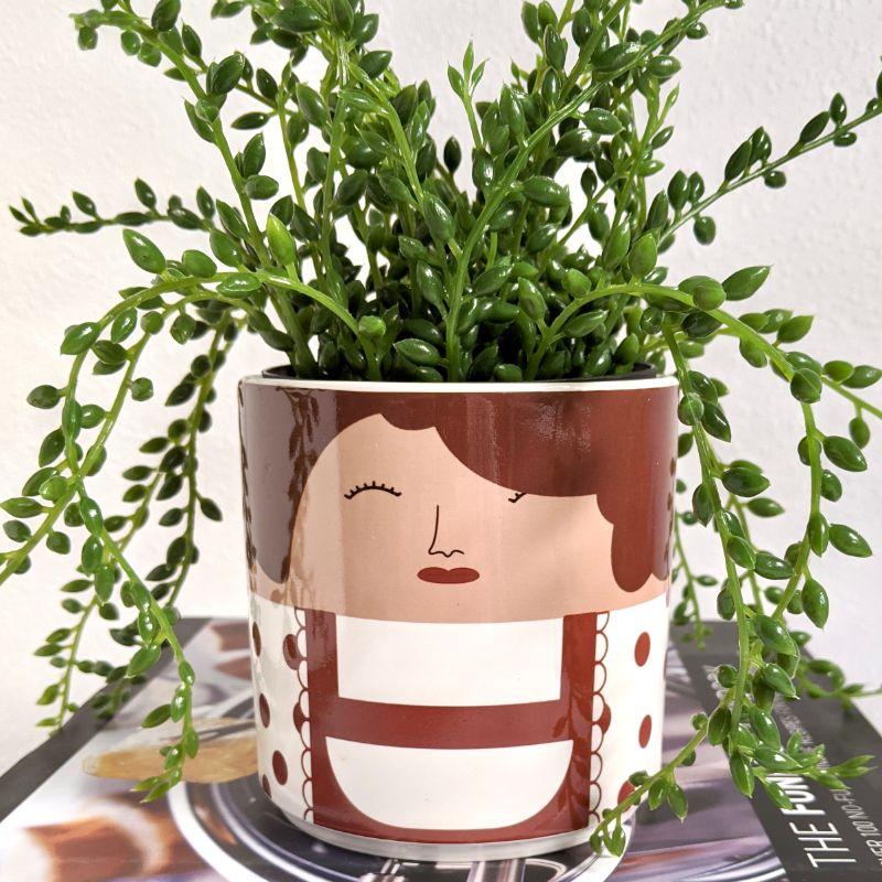 Winking Shy Girl Ceramic Pot Planter