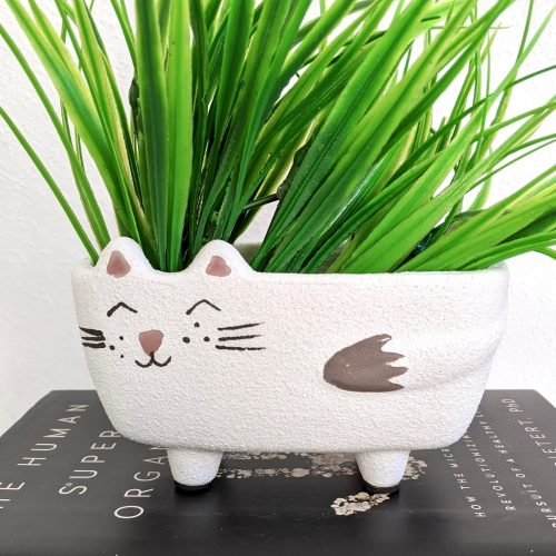 White Cat Face Ceramic Pot Planter