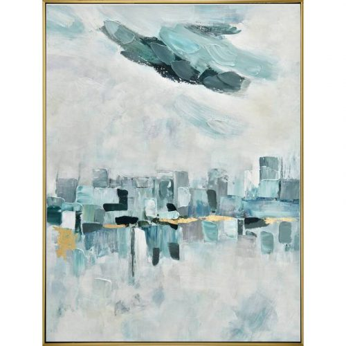 Abstract City Skyline Framed Canvas Wall Art
