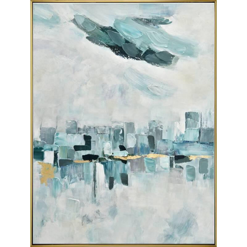 Abstract City Skyline Framed Canvas Wall Art