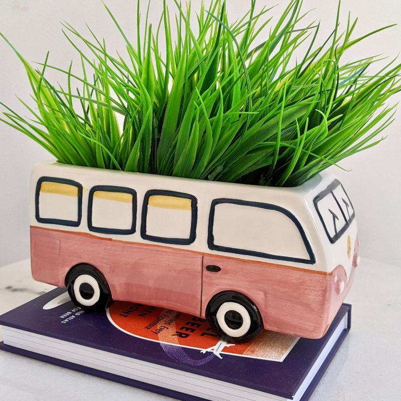 Beach Kombi Van Caravan Ceramic Pot Planter