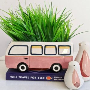 Beach Kombi Van Caravan Ceramic Pot Planter