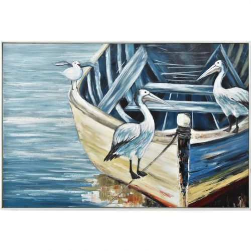 Birds on Boat Framed Canvas Wall Art