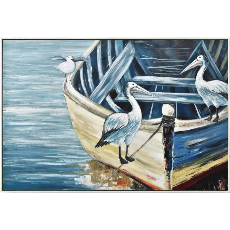 Birds on Boat Framed Canvas Wall Art