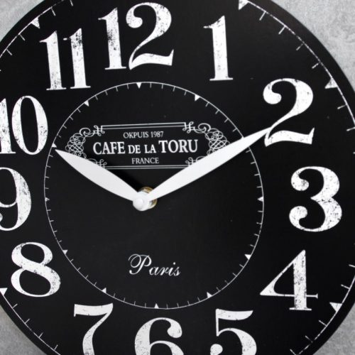 Black White Cafe Wooden Wall Clock