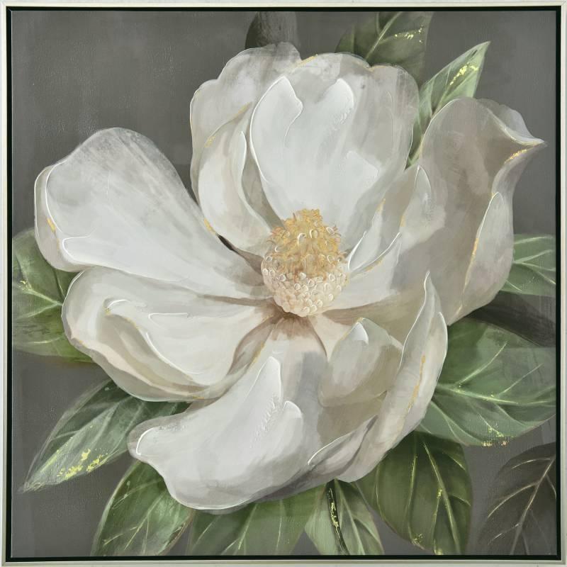 Blooming White Flower Framed Canvas Print Wall Art