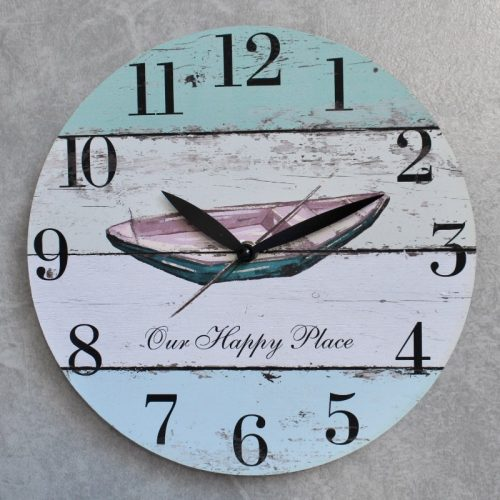 Blue Nautical Boat Wooden Wall Clock