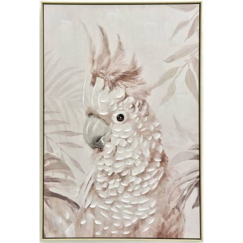 Blush Cockatoo Parrot Framed Canvas Wall Art