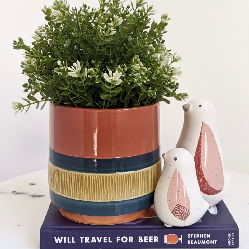 Boho Navy Stripes Ceramic Pot Planter