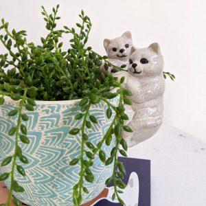 White Pink Kitty Cat Ceramic Pot Planter Sitter - Set of 2