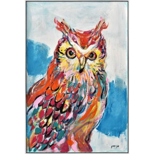 Colourful Owl Framed Canvas Print Wall Art