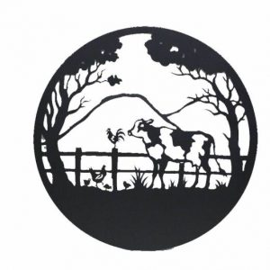 Country Cow Rooster Black Metal Wall Art Decor