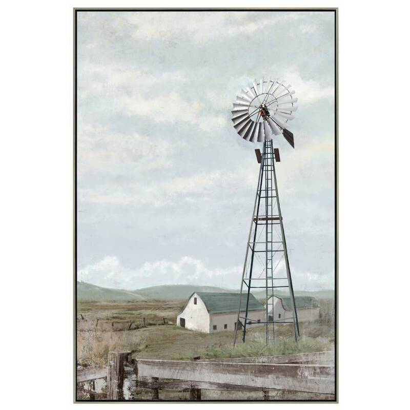 Countryside Windmill Framed Canvas Print Wall Art