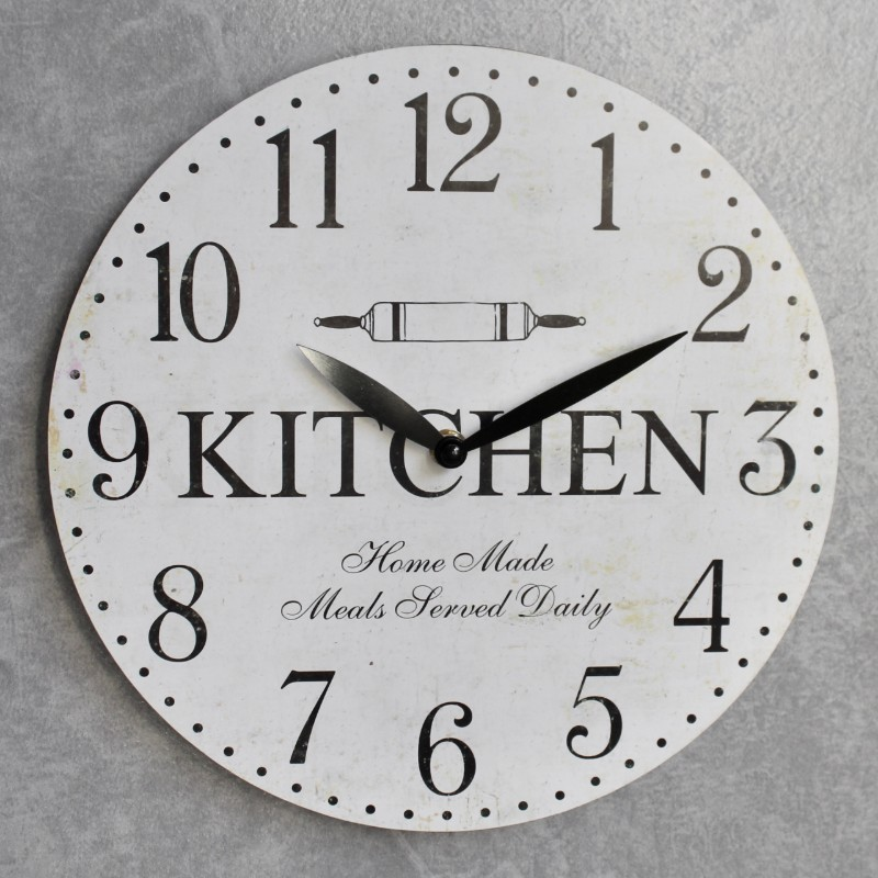Distressed White Kitchen Wooden Wall Clock