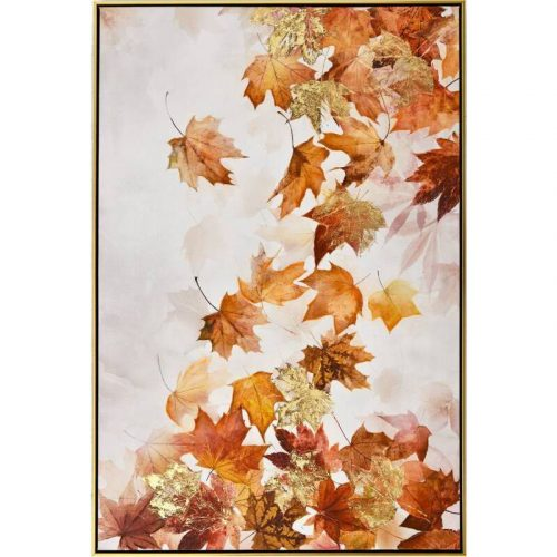 Falling Autumn Leaves Framed Canvas Wall Art