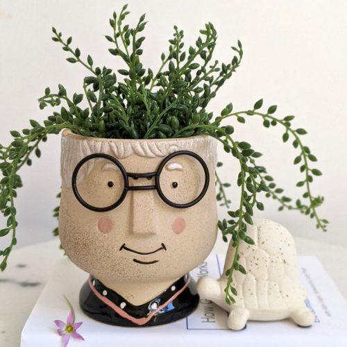 Grandma with Glasses Face Head Concrete Pot Planter
